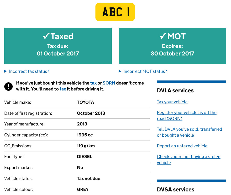 DVLA vehicle checker with a positive vehicle find