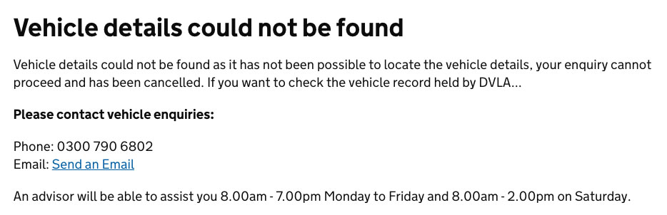 DVLA vehicle checkerwhere your vehicle cannot be found on their database